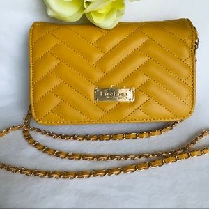 Bebe Sophia Crossbody Mustard Faux Leather Bag